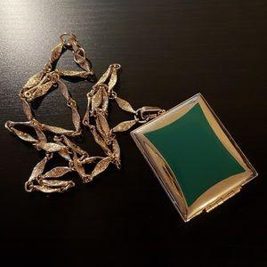 🇮🇹 Antique - Green Gold Locket Necklace